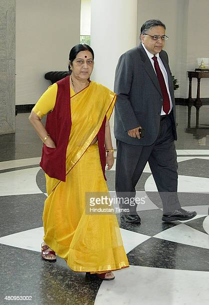 External Affairs Minister Sushma Swaraj arrives for the IndiaMyanmar Joint Consultative Commission meeting at Jawaharlal Nehru Bhawan on July 16 2015...