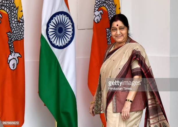 External Affairs Minister Sushma Swaraj arrives to attend the delegation level meeting with Prime Minister Narendra Modi and his Bhutanese...