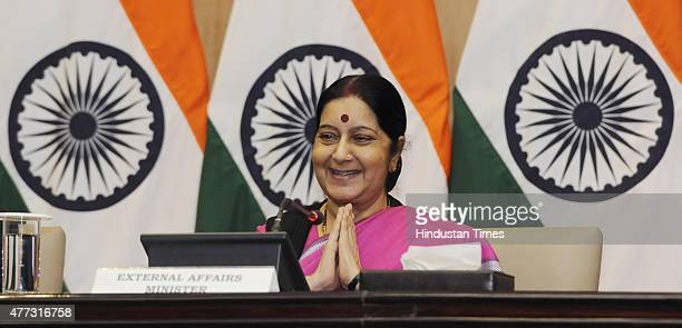 External Affairs Minister Sushma Swaraj at an event at JLN Bhavan to flag off the first batch of Kailash Mansrovar Yatris who will travel by new...