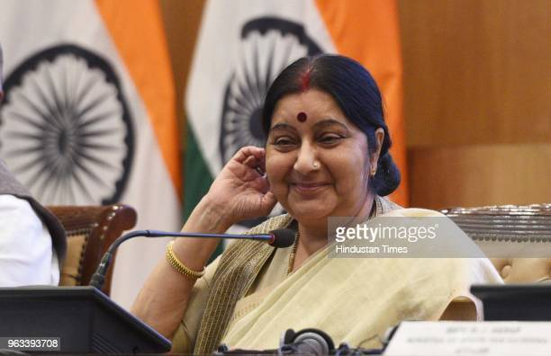External Affairs Minister Sushma Swaraj during the annual press conference on the completion of 4 years of the Bharatiya Janata Party led National...