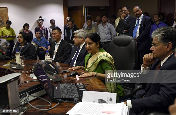 External Affairs Minister Sushma Swaraj with officials during the announcement of a new second route for the 'Kailash Manasarovar Yatra' on February...