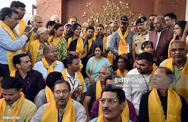 External Affairs Minister Sushma Swaraj with yatris during the flag off of first batch of Kailash Manasarover Yatra 2016 at JNB on June 11 2016 in...