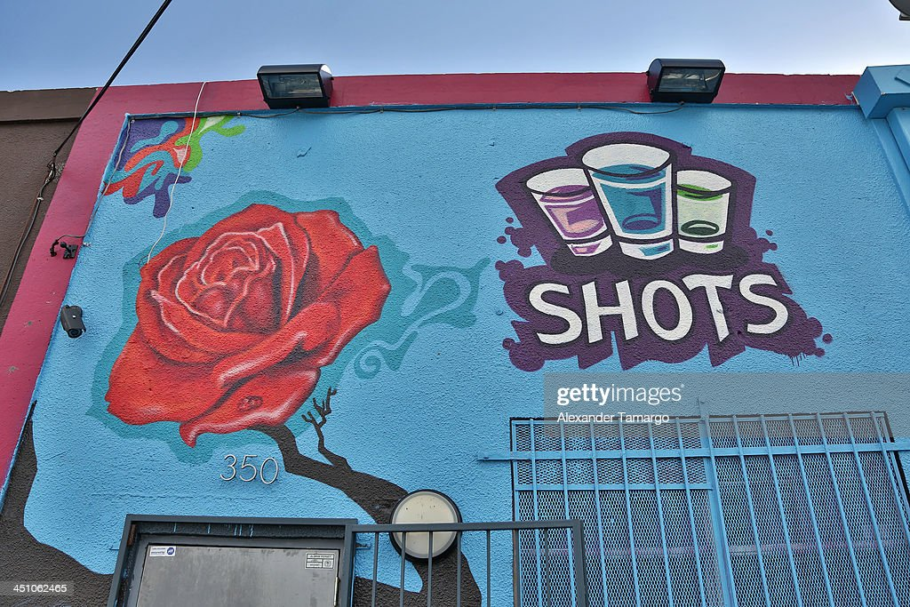 External view of Shots Bar and Lounge in the Wynwood Art District on November 21, 2013 in Miami, Florida.
