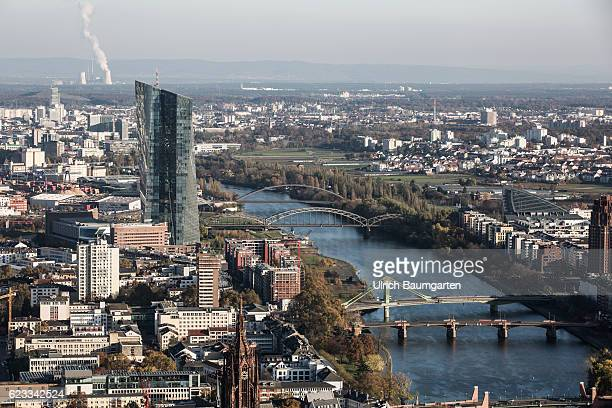 External view of the European Central Bank headquarters on the river Main