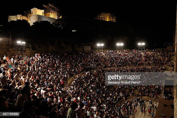 External view of the Herod Atticus Odeon during the 'Nana Mouskouri Birthday Tour' In Herod Atticus Odeon Theatre on July 14 2014 in Athens Greece