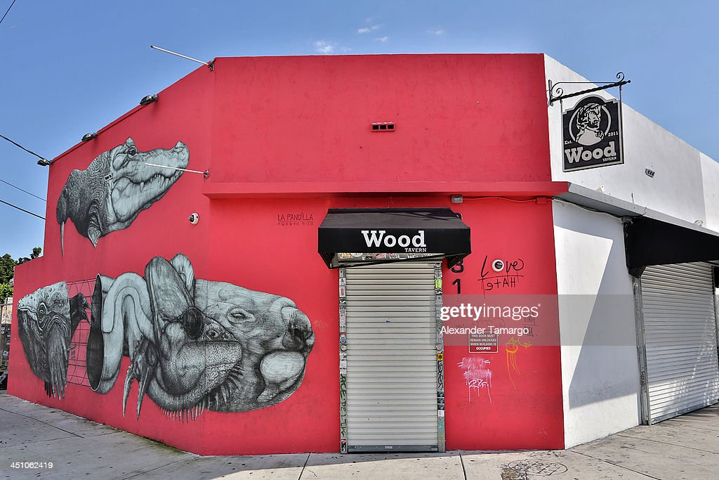 External view of Wood Tavern in the Wynwood Art District on November 21, 2013 in Miami, Florida.