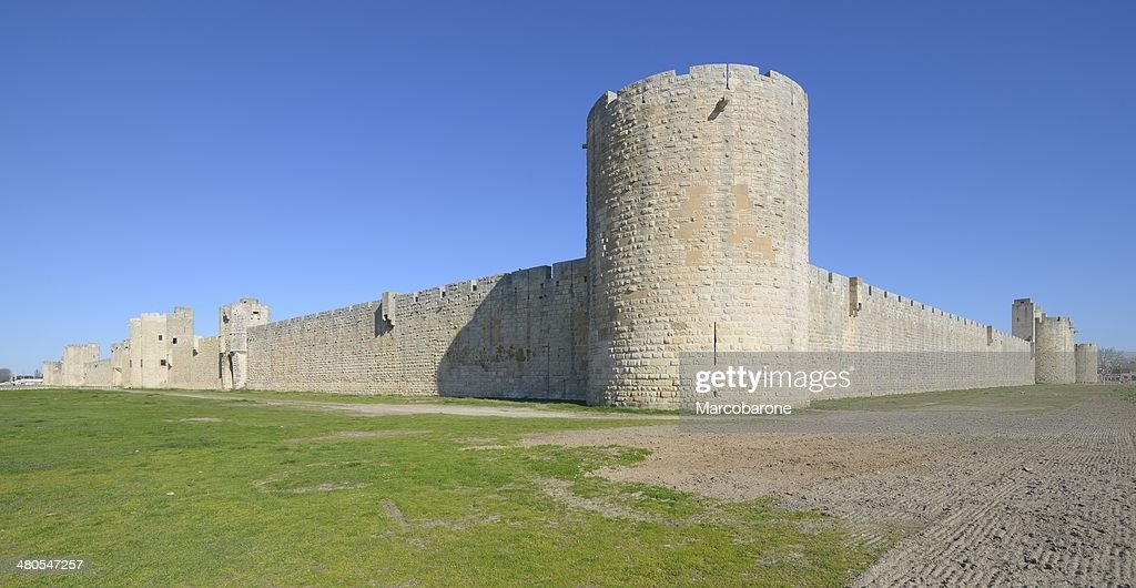 external walls, Aigues Mortes, southern France. : Stock Photo