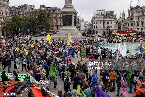 Extinction Rebellion activists gather in Trafalgar Square on September 04, 2021 in London, England. Over the past 2 weeks, climate action group...