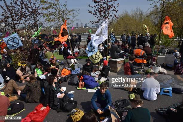 Extinction Rebellion climate change protesters close Waterloo Bridge LondonPHOTOGRAPH BY Matthew Chattle / Barcroft Images