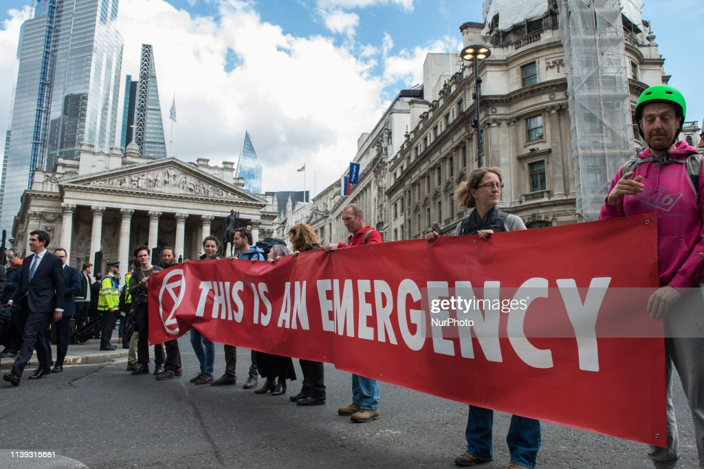 Extinction Rebellion Protest Outside The Bank Of England : News Photo