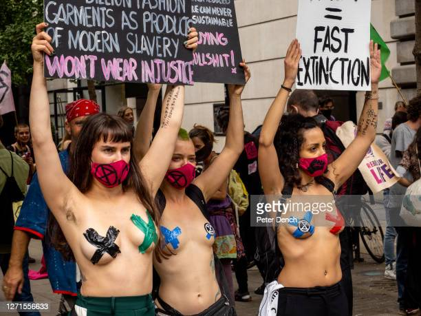 Extinction Rebellion protest on Oxford Street against unethical practices in the fashion industry on September 09, 2020 in London. The protest is...