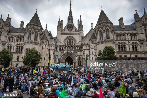 Extinction Rebellion protesters block traffic on the Strand as the environmental protest group begin a series of planned weeklong protests...