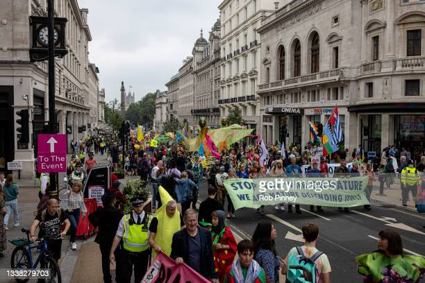 """Extinction Rebellion protesters join the """"March for Nature"""" on September 04, 2021 in London, England. Over the past 2 weeks, climate action group..."""
