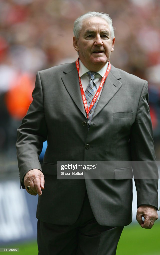 Ex-Tottenham Hotspur player Dave Mackay walks along the pitch prior to the FA Cup Final match sponsored by E.ON between Manchester United and Chelsea at Wembley Stadium on May 19, 2007 in London, England.