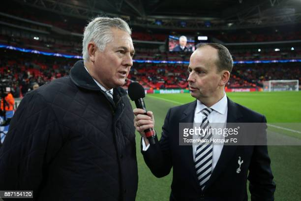 ExTottenham Hotspur player Paul Miller is interivewed at half time during the UEFA Champions League group H match between Tottenham Hotspur and APOEL...