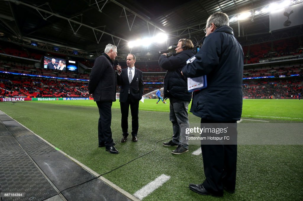 Ex-Tottenham Hotspur player Paul Miller is interivewed at half time during the UEFA Champions League group H match between Tottenham Hotspur and APOEL Nicosia at Wembley Stadium on December 6, 2017 in London, United Kingdom.