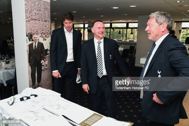 ExTottenham Hotspur players Darren Anderton Paul Allen and Clive Allen in discussion prior to the Premier League match between Tottenham Hotspur and...