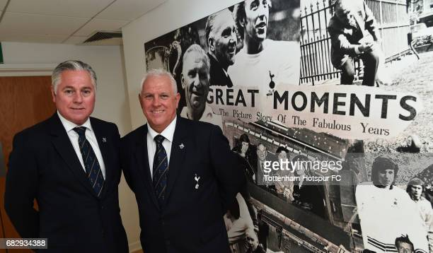 ExTottenham Hotspur players Paul Miller and Graham Roberts pose prior to the Premier League match between Tottenham Hotspur and Manchester United at...