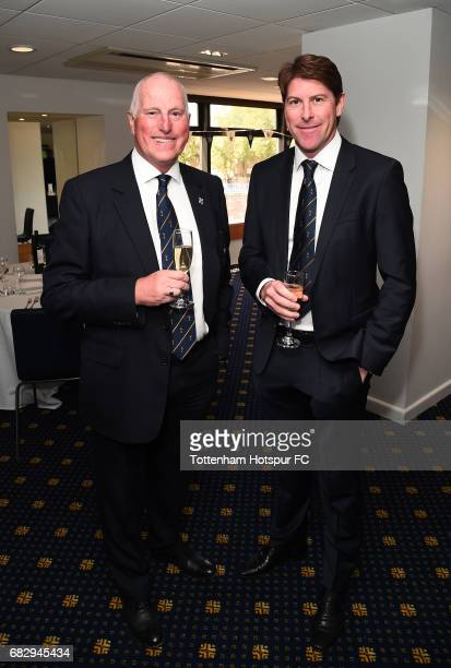 ExTottenham Hotspur players Ray Clemence and Darren Anderton in discussion prior to the Premier League match between Tottenham Hotspur and Manchester...