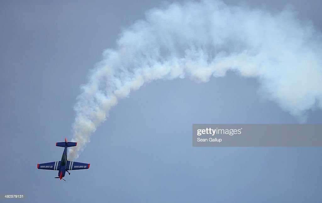 A Extra 300 aerobatic plane flies at the ILA 2014 Berlin Air Show on May 21, 2014 in Schoenefeld, Germany. The ILA 2014 is open from May 20-25.