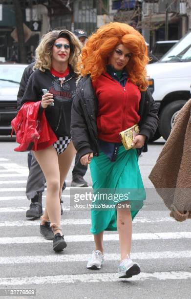 Extra actors are seen on the set of 'Katy Keene' on March 25 2019 in New York City