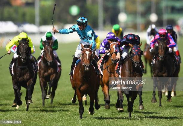 Extra Brut ridden by John Allen wins race 7 The AAMI Victoria Derby during Derby Day at Flemington Racecourse on November 3 2018 in Melbourne...