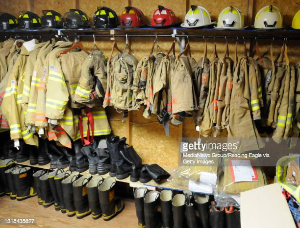 Extra fire coats, pants, and boats have found a storage room at Stonersville, but the small space is inadequate for maintaining all the equipment...