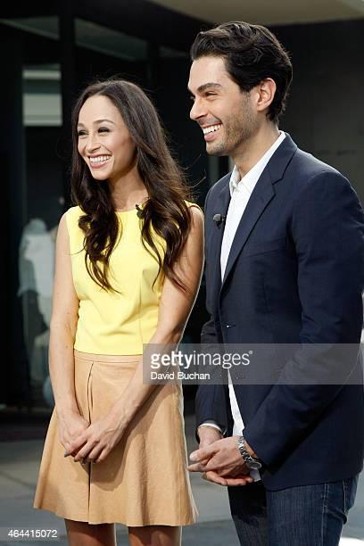 Extra Interviews Cara Santana and Joey Maalouf at Westfield Century City on February 25 2015 in Los Angeles California