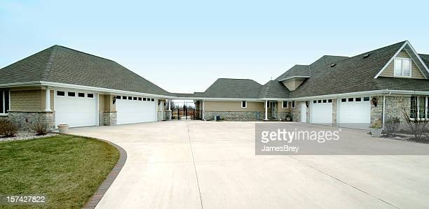 Extra Large Five Stall Garage, Gabled Roof, Concrete Drive Way