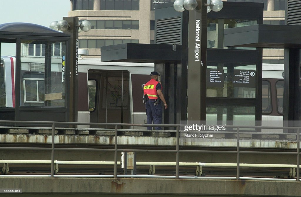 Extra security and police patrol the Metro platform at Regan National Airport on Tuesday, September 17, 2001.