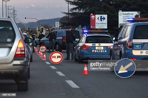 Extra security measures in place ahead of the Serie A match between Juventus FC and AC Milan at Juventus Arena on November 21, 2015 in Turin, Italy.