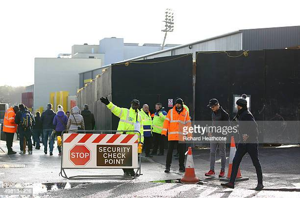 Extra security measures in place at Vicarage Road ahead of the Barclays Premier League match between Watford and Manchester United at Vicarage Road...