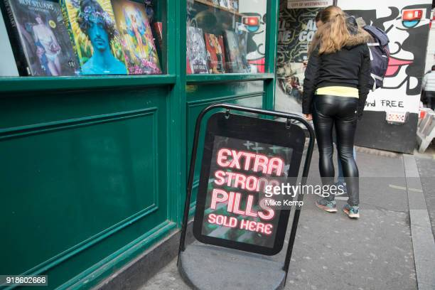 Extra strong pills for sale at an adult sex shop in Soho central London United Kingdom Here there were once sex shops DVD shops live sex shows and...