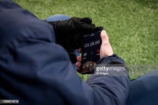 Extra time on iPhone app during the Dutch Eredivisie match between Heracles Almelo and PEC Zwolle at Polman stadium on January 26 2019 in Almelo The...