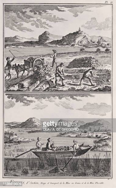 Extraction of minerals from open pit mines and river beds engraving by Defehrt from L'Encyclopedie by Denis Diderot and JeanBaptiste Le Rond...