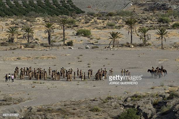 Extras and actors of television series 'Game of Thrones' gather to act in a scenery of the southern Spanish village of Pechina Almeria province where...