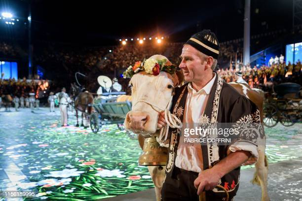 Extras and actors perform on July 16 the general rehearsal of the Fete des Vignerons a traditional festival which takes place in Vevey western...