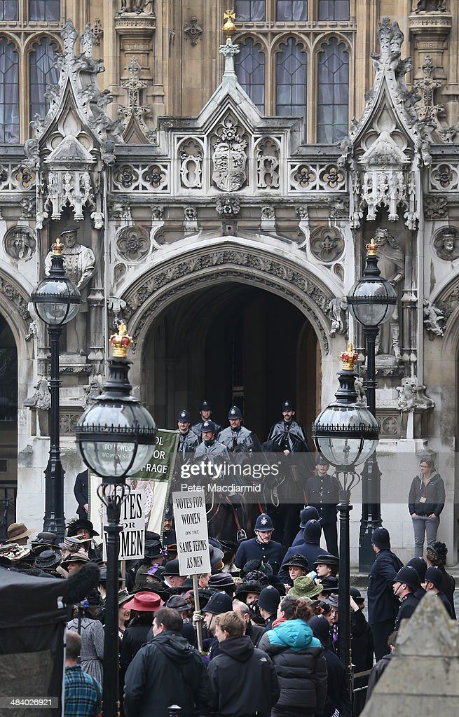 Extras take part in filming of the movie Suffragette at Parliament on April 11, 2014 in London, England. This is the first time filming for a movie has been allowed in The Houses of Parliament. Suffragette is due for release in 2015.