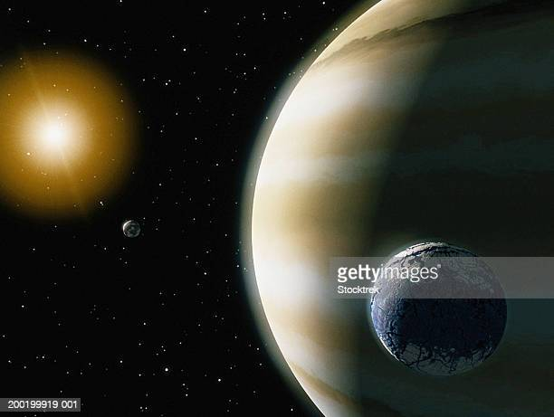 Extrasolar planet with water-bearing moon (Digital Composite)