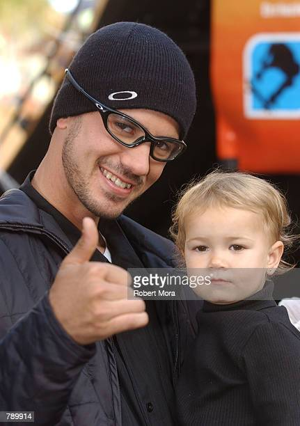 Extreme athlete Bob Burnquist and son attend ESPN's Ultimate X movie premiere May 6, 2002 in Universal City, CA.