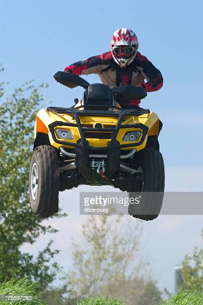 extreme atv air - stunt person stock photos and pictures