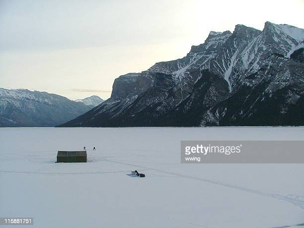 Extreme camping on a frozen lake