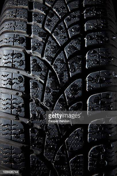 Extreme close up of a tire, full frame