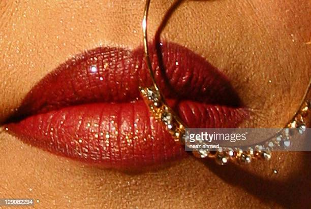 extreme close up of bridal lips - bangladeshi bride stock photos and pictures