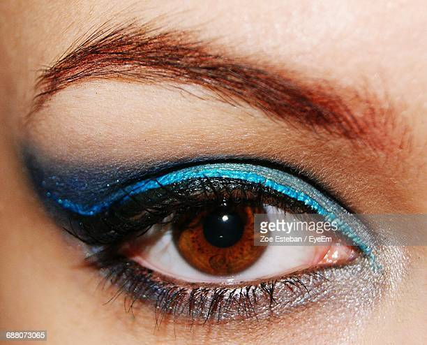 Extreme Close Up Of Brown Eye With Make-Up