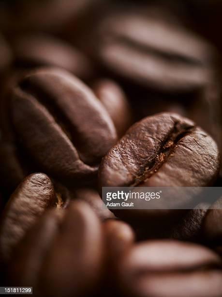 extreme close up of coffee beans - grain de café torréfié photos et images de collection