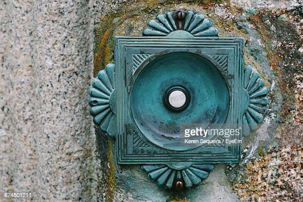 extreme close up of door bell - door bell stock photos and pictures
