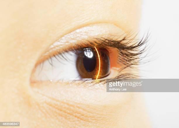 Extreme Nahaufnahme der Augen mit laser scanning brown