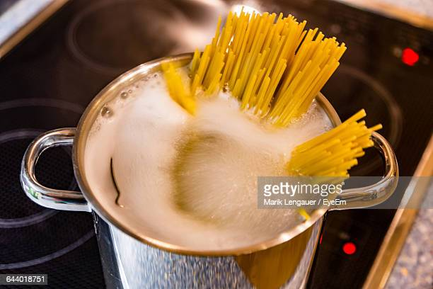 Extreme Close Up Of Preparing Spaghetti Noodles