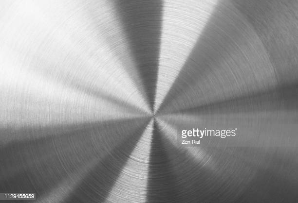 extreme close-up of a new stainless steel cooking pan's surface - ステンレス ストックフォトと画像